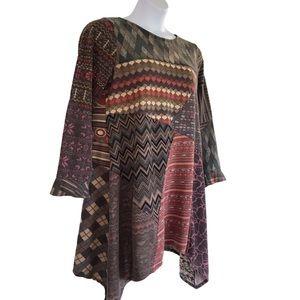 Vtg Sacred Threads Patchwork Tunic / Mini Dress XL